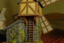 Wargame Scenery - Windmill - Village of Urfé / To go with the Blacksmith, I decided to create a whole village around it. Idea is : - Small floor footprint - Simple to make - Consistency of buildings (since it is a village, needs some consistency between houses) - Interesting building with character.