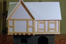 """Wargame Scenery - Inn, Tavern - Village of Urfé / """"The Black Lion's Rest"""" is an Inn or Tavern for the Village of Urfé. As per other buildings in the village, it will be Hirst Arts bricks at the bottom and foamboard at the top. Tile for the roof. There will be a small stable at the back."""