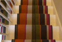 Multi Coloured Striped Stair Runner / Client: Private residence in North London. Brief: To install Crucial Trading Audrey Sunrise 100% Wool Carpet to stairs.