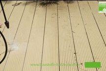 Reinigung einer UPM ProFi Deck Terrasse / Am besten reinigen Sie Ihre UPM ProFi Deck Terrasse mit einem Hochdruckreiniger. Jede Diele und jede Fuge einzeln abarbeiten.