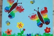 Basteln mit Kindern | Bilder mit Handabdruck / Pinterest Board rund um Bastelideen mit Kindern für Bilder mit Hand- und Fußabdrücken