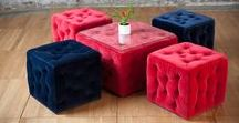 Amura Collection poufs and tables / Our Amura Collection is available in red and dark blue, and it is perfect if you want a relaxed but elegant atmosphere.