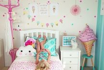 Toddler Girls Bedroom Ideas / Always on the hunt for inspiration and ideas for our toddler twin daughters bedroom that they share. Ideas of pretty feminine florals with a hint of cool funky interiors for a fun shared room