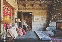 Rustic Home / Wood beams, stone fireplaces, dark leathers, coziness and warmth for true country living.