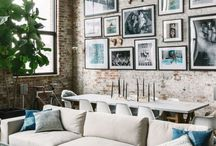 Loft inspo / White concrete fabrics plants textile cord lights neon lights metal brass stainless steal silver copper marble contrast color on small furniture