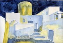 ~I Love Watercolor Architecture, Houses, Buildings, Urban...~ / Watercolor Architecture, watercolor houses, watercolor urbans