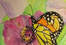 ~I Love Watercolor Butterflies, Dragonflies,lady bugs and others insects~ / Watercolor butterflies, dragonflies, lady bugs, insects