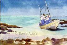 ~I Love Watercolor seascape, coastal, rivers, lagoons...~ / Watercolor seascape