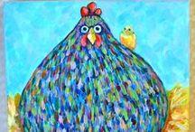 Roosters, Hens, Chickens, Gooses, Ducks, Barnyard fowl in Art / Roosters, Hens, Chickens, Gooses, Ducks, Barnyard fowl in Art / by Sonia Aguiar