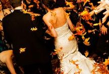 "An Autumn Wedding / As autumn leaves turn their brilliant hue, two hearts join together and say ""I Do"""