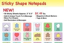 "Sticky Shape Notepads! / New! Sticky Shape Notepads!  Great for self reminders & messages Add an unique touch to a message Magazine & book markers Tags & more 50 Sticky Sheets to a package Approx. 3"" x 3"""
