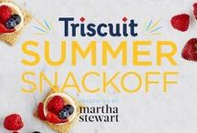 Triscuit Summer Snackoff Challenge with Martha Stewart Living / Martha Stewart and friends shared recipes and snack ideas using fresh berries, tomatoes, mixed greens, or peas with Triscuit crackers. That's where they took it. Where you take it is entirely up to you. Triscuit. Made for More. / by Triscuit
