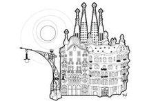 Skyline / Visión de los artistas de Spaint de los Skylines de sus ciudades: Madrid y Barcelona