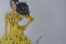 Fashion Illustrations by Cally Van Der Schyff / Hand drawn fashion illustrations with an Old Hollywood Glamour influence