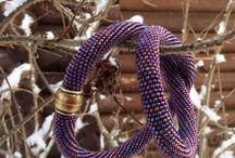 My Beadworks - handmade - bead crochet necklaces, brooches - Мои работы - жгуты из бисера, броши / Жгуты из бисера, связанные крючком. Броши.