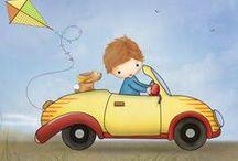 kisautók és más járművek / rajzok, illusztrációk közlekedés témában