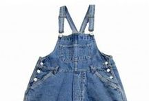 Womens 80s & 90s Retro Cropped Dungarees / Womens 80s & 90s Retro Cropped Dungarees from the Blue17 vintage clothing online store