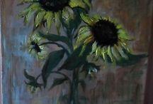 fleurs ect.  Acrilic sur toutes les  surfaces - créations personnelles /  Créations personnelles