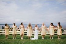 W E D D I N G {people} / Looks for the wedding party - June 2014! Dark turquoise and teal dresses, grey suits.
