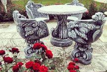 Decorative garden elements (Sculture da Giardino) / Garden ideas, garden containers, flower boxes, flower jardinieres, sculptures, fountains, decorative drinking fountains...