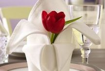 Fun Napkin Folding / We love to fold our linen napkins in the Lamplight Inn's dining room for different holiday's.