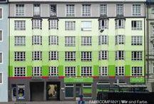 Fassaden/ Farbentwürfe/ Fassadenentwürfe/ Farbkonzept / Farbcompany visualisiert und realisiert Farbentwürfe für historische Fassaden, Wohnhäuser, ganze Gebäudekomplexe und Unternehmen.