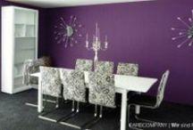 Farbkonzept - Renovierung eines Wohnzimmers in Hannover mit Farben und Oberflächentechniken / Farbkonzept im Wohnzimmer - Violett in Kombination mit reinem Weiß. Eine Oberflächengestaltung mit Krakelierlack gibt Möbeln und Oberflächen ein einzigartige Wirkung. Edel und mit Unikatcharakter.