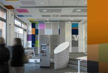 Farbkonzept - Farbe und Design für Innenräume / Volksbank/ Köln, Pulheim. Entwurfsvisualisierungen und Farbkonzept  für das Foyer einer Bankfiliale in Zusammenarbeit mit Malermeister Edgar Lüpschen, Köln.