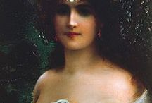 Emile Vernon  / Emile Vernon (1872-1919) was born in Blois, France in 1872 and studied painting under the French genre artist Auguste Joseph Trupheme (1836-1898). Vernon is listed in French Salon archives as exhibiting one painting at the Paris Salon of 1898. By 1904 Emile Vernon was living at 2 Upstall Street, Camberwell, London and in the same year exhibited a flower painting at the Royal Academy. He is best remembered for his scenes of pretty young girls with flowers.