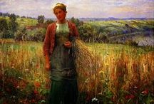 Daniel Ridgway Knight / Daniel Ridgway Knight (March 15, 1839 - March 9, 1924) was an American artist born at Chambersburg, Pennsylvania. He was a pupil at the École des Beaux-Arts, Paris, under Gleyre, and later worked in the private studio of Meissonier. After 1872 he lived in France, having a house and studio at Poissy on the Seine. He painted peasant women out of doors with great popular success.
