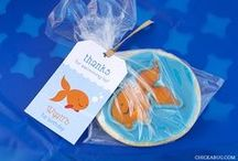Goldfish Party / Goldfish party inspiration! • Blog posts: www.bitly.com/goldfish_parties • Products: http://www.chickabug.com/shop-by-theme/goldfish-party / by Chickabug