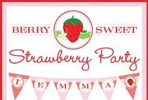 Strawberry Party / Strawberry party inspiration! • Blog posts: www.bitly.com/strawberry_parties • Products: http://www.chickabug.com/shop-by-theme/strawberry-party