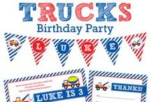 Trucks Party / Trucks party inspiration! • Products: http://www.chickabug.com/shop-by-theme/trucks-party