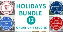Holidays Unit Study / Activities for homeschool learning about lots of holidays, like Chinese New Year, President's Day, Easter, Memorial Day, Labor Day, Thanksgiving and more!