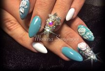 Nails by me / Acrylic/gels hand painted designs Stiletto nails
