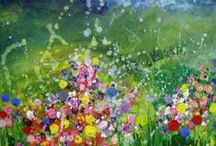 Early meadowlands paintings by Yvonne Coomber / My paintings of meadows burst with life, as if the flowers are tumbling from the canvas into the room. Inspired by wild hedgerows bursting with kaleidoscopic colour, they sparkle with joy and happiness. It is a place of beauty and wildness, a place to wander and dream, to lose yourself in the sky, to feel the sun warm on your face and the grass under your feet. It is a place to feel at peace, to regain that connection between land and soul.
