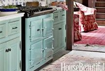 Colorful Cabinets / Use Benjamin Moore paint to add color to your cabinets.