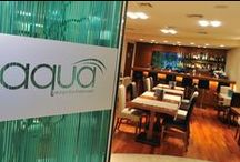 """Aqua Bar & Restaurant / After a busy day in the city there is no better place to eat than the delightful oasis of the """"Aqua Restaurant"""". It is an exciting restaurant combining Mediterranean tastes & light menus. Our chef offers you a feast of special flavours and smells. Wonderful creations made from pure, fresh ingredients of the Mediterranean combined with a wide selection of wines , promise a truly special meal experience !!!"""