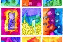 Inkt en water, ecoline, alcohol inkt / Verloop van kleuren