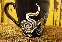 Hand painted Ceramic Mugs & Glasses / Unique Original Designs painted on Ceramic Mugs & Glasses