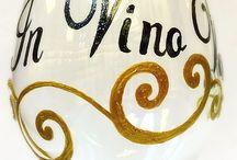 Hand Painted Wine Glasses / Dishwasher safe, custom painted wine glasses