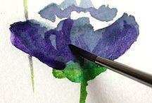 akvarel maling / Malerier og akvarel maling