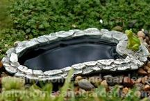 Water Features for Fairies / Fairy ponds,  water fountains, miniature bird baths and more for the fairies in your garden.