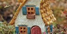 Fairy Houses with Hinged Doors / Fairy houses and cottages that have hinged doors to open and close.