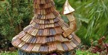 Shingletown Fairy Garden Village / Fairy Houses and accessories with whimsical architecture and shingled roofs.