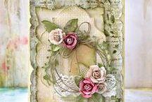 kartki - shabby chic z kwiatami
