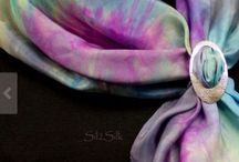 www.Sil2Silk.etsy.com / Hand dyed silk scarves, silk insert all occasion cards ready to frame, silver scarf rings.