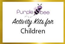 Purple bee Activity boxes for kids / The board contains information about purple bee activity kis for children