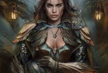 C: Lady Freyja / The Norse goddess of love, beauty, fertility, gold, seiðr, war, and death. The leader of the Valkyries. Daughter of Njord and sister of Frey.