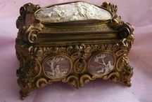 Wonderful Jewelry & Powder Boxes / Silver, Gold, Glass, Ivory, Figural, Painted, Porcelain